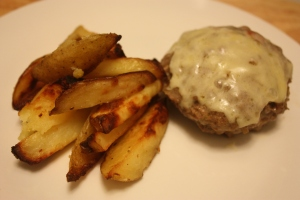 Onion burger with chunky homemadechips