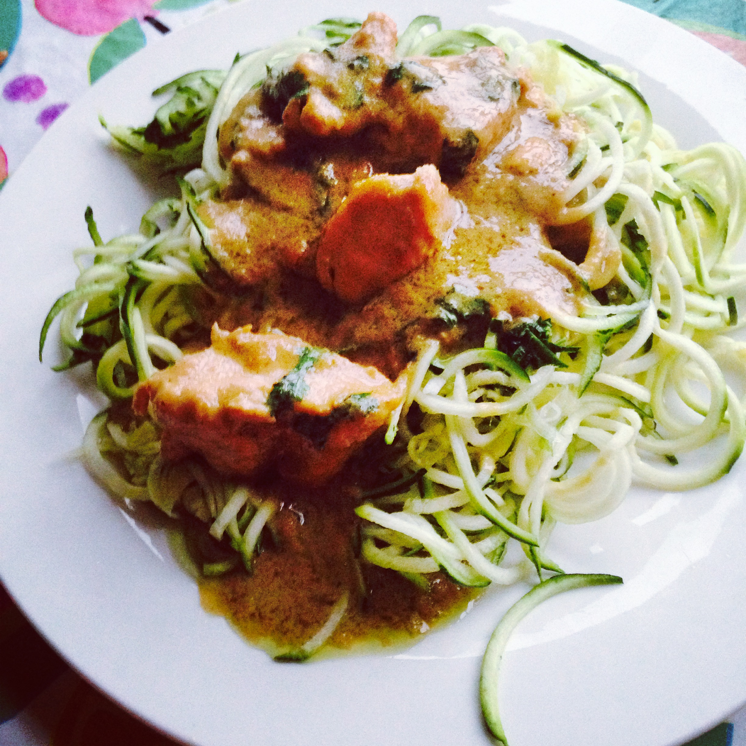 Thai green curry courgette noodles